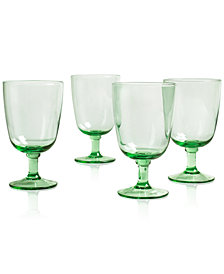 Martha Stewart Collection Farmhouse Green Glass Goblets, Set of 4, Created for Macy's