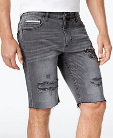 "Calvin Klein Jeans Men's Asphalt Ripped Denim 10.5"" Shorts"