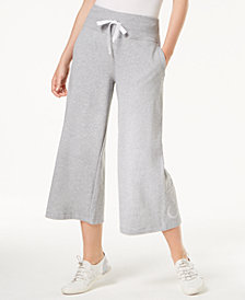Calvin Klein Performance High-Rise Wide-Leg Terry Cropped Sweatpants