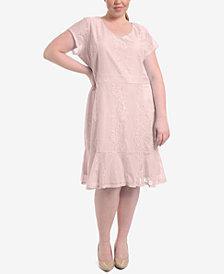 NY Collection Plus Size Lace Flounce-Hem Dress