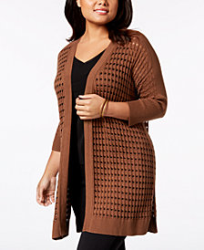 Kasper Plus Size Knit Open-Front Cardigan