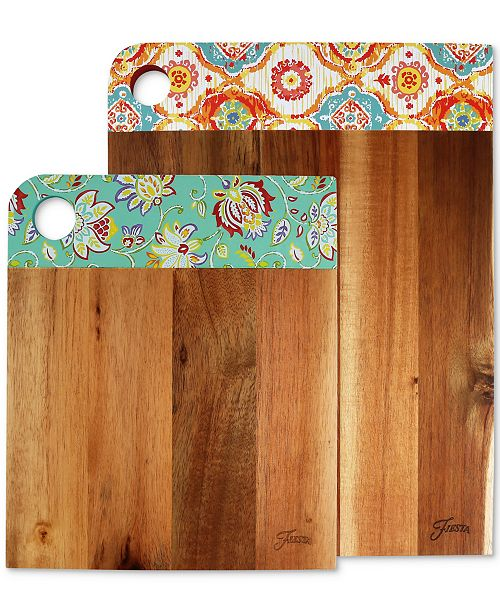 Cambridge Fiesta 2-Pc. Acacia Wood Patterned Cutting Board Set