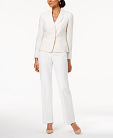 Le Suit Two-Button Tweed-Jacket Pantsuit, Regular & Petite