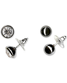 Charter Club Silver-Tone 2-Pc. Set Crystal Stud Earrings, Created for Macy's