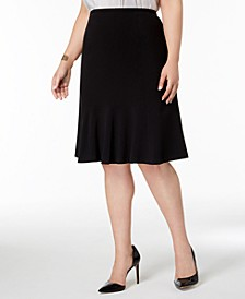 Plus Size Flared-Hem Skirt