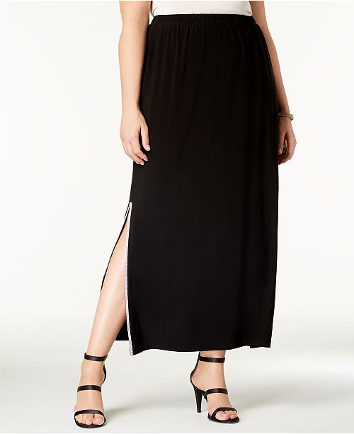 d4b42538f32 MSK Plus Size Rhinestone-Embellished Maxi Skirt   Reviews - Skirts ...