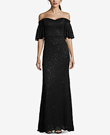 Betsy & Adam Sequined Lace Off-The-Shoulder Gown