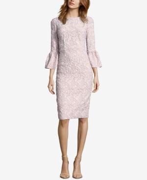 Betsy & Adam Glitter Matelasse Bell-Sleeve Dress