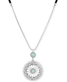 "Lucky Brand Silver-Tone & Stone Openwork Flower Leather 34"" Pendant Necklace"