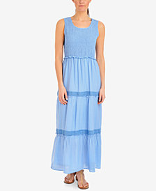 NY Collection Petite Smocked-Bodice Maxi Dress