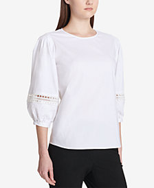 Calvin Klein Crochet Lace Bubble-Sleeve Top