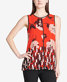 Calvin Klein Pipe-Trim Mixed-Print Top