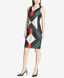 Calvin Klein Geometric-Print Scuba Dress