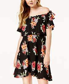Sequin Hearts Juniors' Printed Off-The-Shoulder Dress