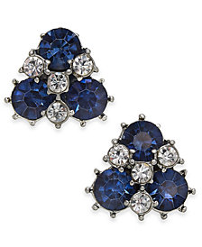 Charter Club Silver-Tone Crystal & Stone Cluster Stud Earrings, Created for Macy's
