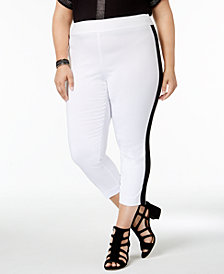 I.N.C. Plus Size Side-Stripe Skinny Pants, Created for Macy's