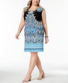 I.N.C. Plus Size Printed Shift Dress, Created for Macy's