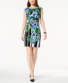 Connected Petite Belted Floral-Print Sheath Dress
