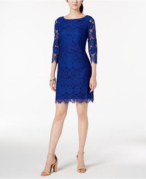 a8082f2d7c95 Jessica Howard Petite 3/4-Sleeve Lace Sheath Dress & Reviews ...