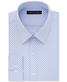 Tommy Hilfiger Men's Slim-Fit Non-Iron Performance Stretch Blue Print Dress Shirt, Created for Macy's