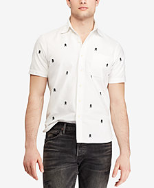 Polo Ralph Lauren Men's Embroidered Crossbones Classic Fit Cotton Sport Shirt