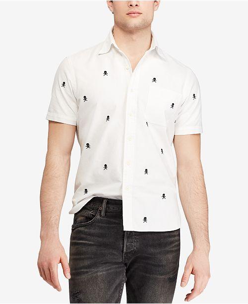 5f8130318f3 Polo Ralph Lauren Men's Embroidered Crossbones Classic Fit Cotton Sport  Shirt ...