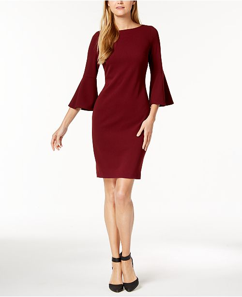 ca4607f6 Calvin Klein Bell-Sleeve Sheath Dress & Reviews - Dresses - Women ...