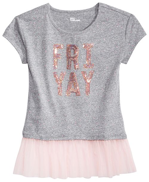 Epic Threads Big Girls Mesh-Inset Graphic T-Shirt, Created by Macy's