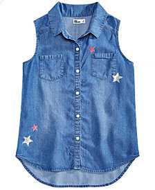 Epic Threads Big Girls Button-Front Denim Shirt, Created for Macy's