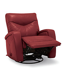 Erith Leather Swivel Pushback Rocker Recliner