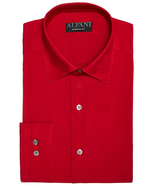 Alfani AlfaTech by Men's Solid Athletic Fit Dress Shirt, Created For Macy's