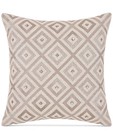 "Charisma Avalon Embroidered Beaded 18"" Square Decorative Pillow"