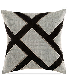 "Charisma Emporio Faux-Silk Embroidered 20"" Square Decorative Pillow"