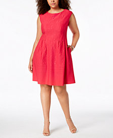 Taylor Plus Size Textured A-Line Dress