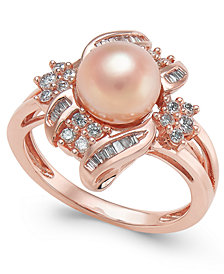 Pink Cultured Freshwater Pearl (8mm) & Diamond (3/8 ct. t.w.) Ring in 14k Rose Gold