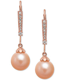 Pink Cultured Freshwater Pearl (8mm) & Diamond (1/10 ct. t.w.) Linear Drop Earrings in 14k Rose Gold