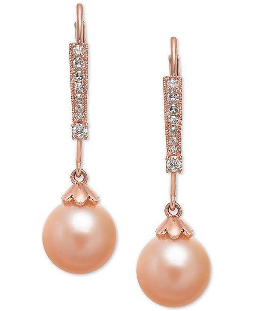 Macy's Pink Cultured Freshwater Pearl (8mm) & Diamond (1/10 ct. t.w.) Linear Drop Earrings in 14k Rose Gold