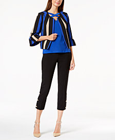 Nine West Striped Jacket, Cross-Neck Shell & Embellished Pants
