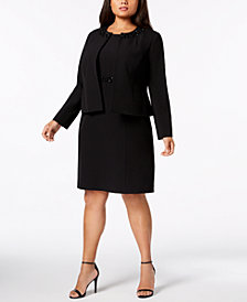 Kasper Plus Size Embellished Flyaway Blazer & Sheath Dress