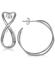 "Giani Bernini Medium Infinity Hoop Earrings in Sterling Silver, 1.2"", Created for Macy's"