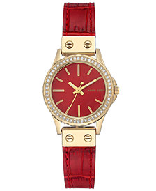Anne Klein Women's Red Leather Strap Watch 29mm