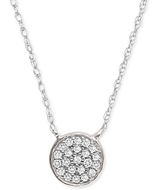 "Diamond Accent Button Pendant Necklace in Sterling Silver, 15"" + 1"" extender, Created for Macy's"