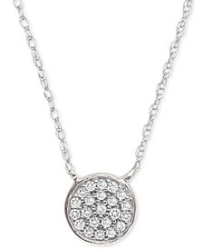"Elsie May Diamond Accent Button Pendant Necklace in 14k White Gold, 15"" + 1"" extender, Created for Macy's"