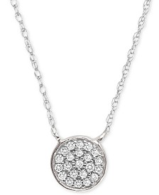 "Elsie May Diamond Accent Button Pendant Necklace in Sterling Silver, 15"" + 1"" extender, Created for Macy's"