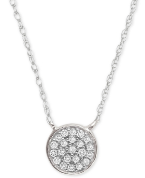 Diamond Accent Button Pendant Necklace in Sterling Silver