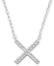 "Diamond Accent Crisscross Pendant Necklace in Sterling Silver, 15"" + 1"" extender, Created for Macy's"