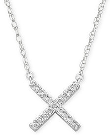 "Elsie May Diamond Accent Crisscross Pendant Necklace in Sterling Silver, 15"" + 1"" extender"