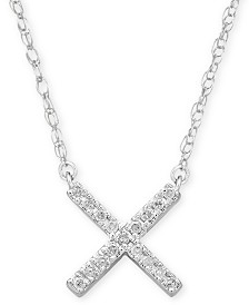 "Elsie May Diamond Accent Crisscross Pendant Necklace in Sterling Silver, 15"" + 1"" extender, Created for Macy's"