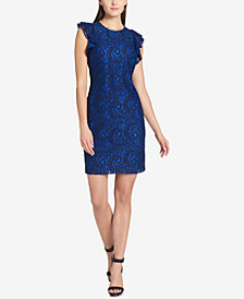 Tommy Hilfiger Flutter-Sleeve Lace Sheath Dress