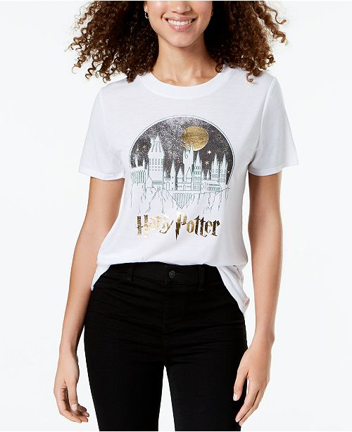 e23e22ef Modern Lux Juniors' Harry Potter Hogwarts Metallic Graphic T-Shirt ...